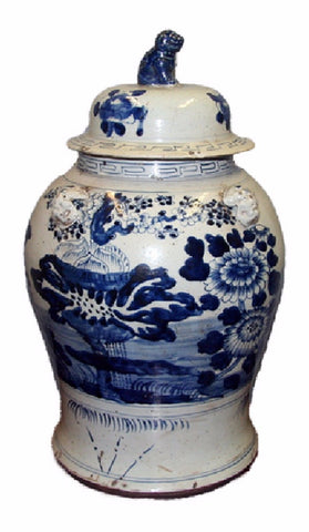 Vintage Style Blue and White Floral Motif Porcelain Temple Jar 23""