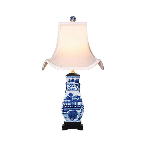 Blue and White Blue Willow Chinese Porcelain Vase Table Lamp 22""