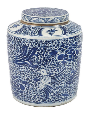 Vintage Style Blue and White Phoenix Motif Porcelain Tea Caddy Jar 17""