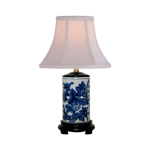 Blue and White Floral Motif Cylindrical Porcelain Vase Table Lamp 15""