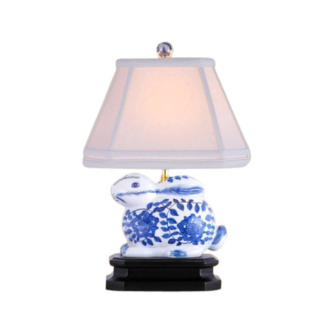 Beautiful Blue and White Porcelain Rabbit Figurine Table Lamp 14.5""