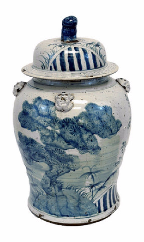 Vintage Style Blue and White Floral Tree Motif Porcelain Temple Jar 23""