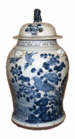 Vintage Style Blue and White Floral Bird Motif Porcelain Temple Jar 19""
