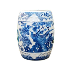 Beautiful Vintage Style Blue and White Porcelain Garden Stool Bird Motif
