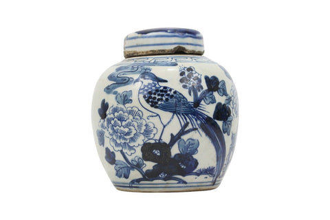 Beautiful Antiqued Style Blue and White Porcelain Bird Motif Cover Jar 6""