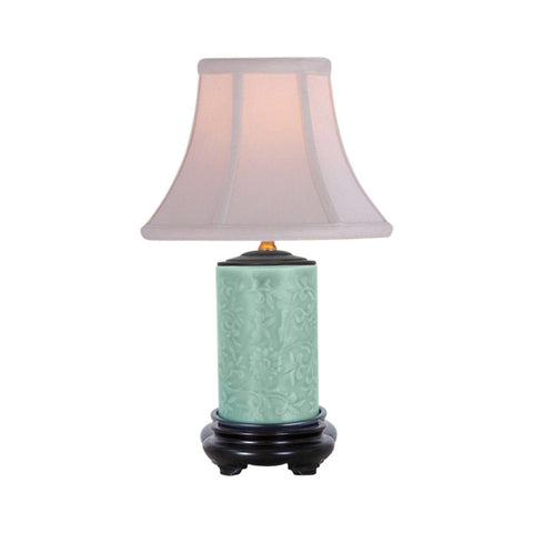 Cute Embossed Style Green Porcelain Table Lamp 15""