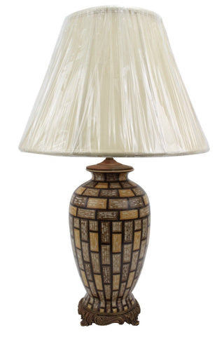Beautiful Large Porcelain Ormolu Round Vase Table Lamp w Shade and Finial 30""