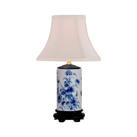 Blue and White Floral Cylindrical Porcelain Vase Table Lamp 15""