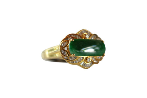 Fine Size 6 Round Imperial Jade Ring with 0.37ct Diamonds 18K Gold Band
