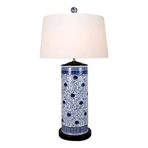Chinese Blue and White Porcelain Round Vase Floral Vine Table Lamp 32""