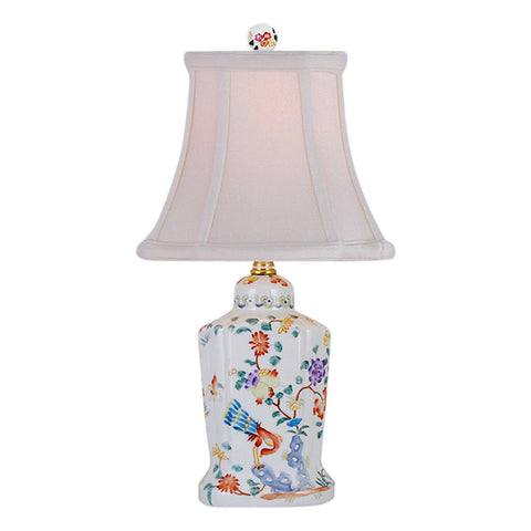 Chinese Floral Scalloped Porcelain Jar Table Lamp 14.5""