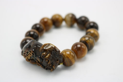 Beautiful Stone Lucky Money Foo Dog Brown Color Bracelet