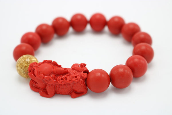 Beautiful Cinnabar Red Colored Wooden Bracelet Foo Dog Gold Ball Bead