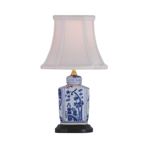 Blue and White Floral Porcelain Tea Caddy Table Lamp 13.5""