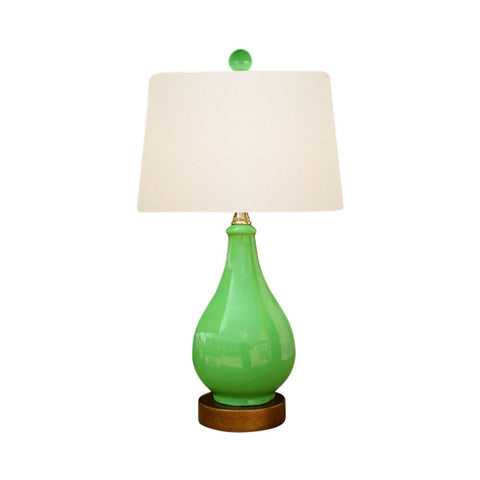 Beautiful Green Porcelain Vase Table Lamp 17""