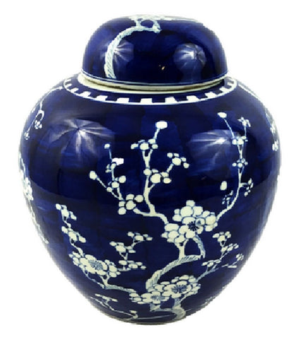 Vintage Style Blue and White Cherry Blossom Rounded Ginger Jar 10""