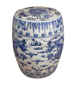 Blue and White Porcelain Dragon Motif Garden Stool 18""
