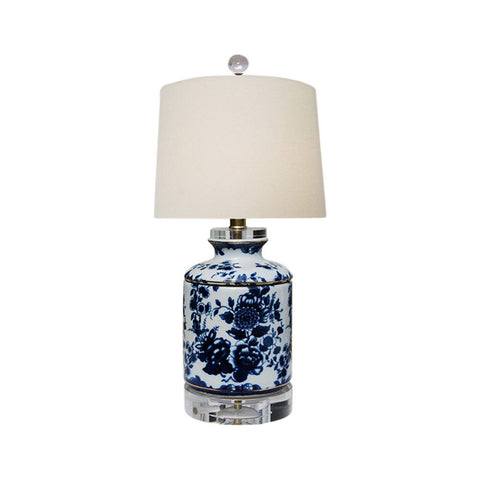 Blue and White Floral Motif Porcelain Ginger Jar Table Lamp 17""
