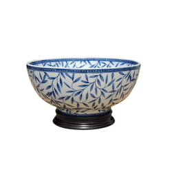 "Blue and White Porcelain Bamboo Leaf Motif Bowl with Base 12"" Diameter"
