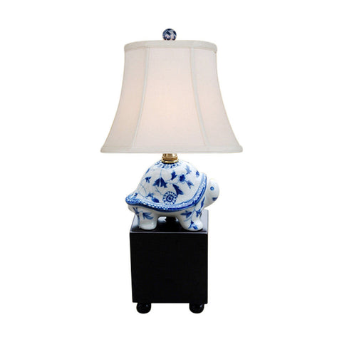 Blue and White Floral Pattern Turtle Figurine Table Lamp 16""