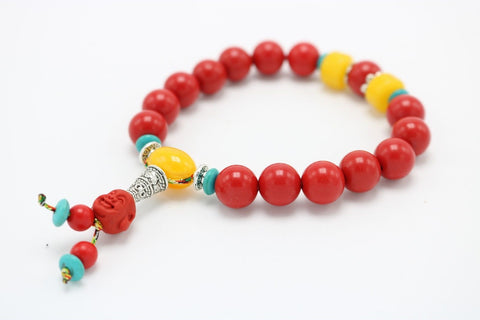 Beautiful Red Colored Wooden Bracelet Buddha Head with Yellow Stones