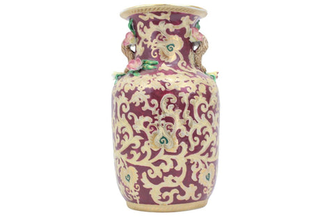Beautiful Chinese Porcelain Red And Gold Tapestry Flower Vase 13