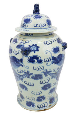 Vintage Style Blue and White Chinese Porcelain Temple Jar Dragon Motif 18""