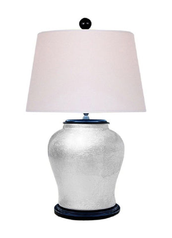 Chinese Silver Leaf Alloy Porcelain Vase Table Lamp 25""