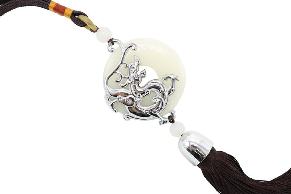 Beautiful Jade Round Coin with Silver Color Dragon Brown Tassel 14""