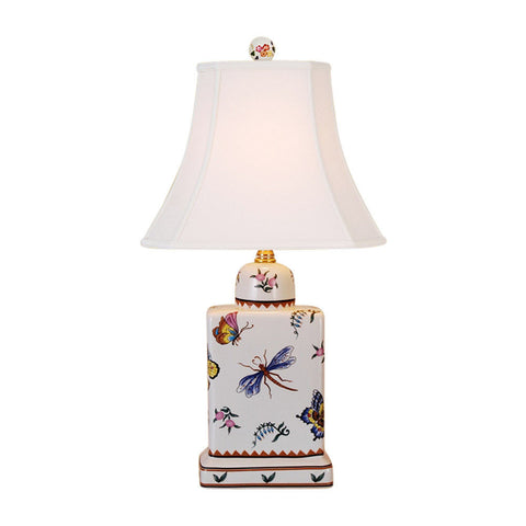 Dragonfly Motif Porcelain Tea Caddy Table Lamp 17""