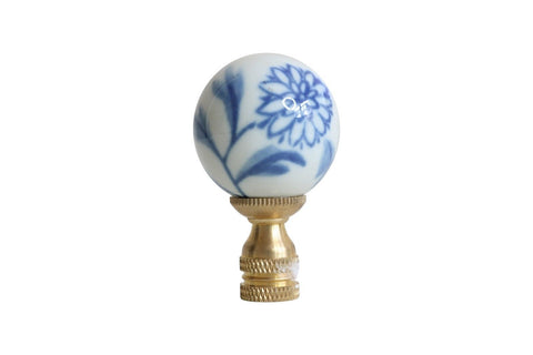 Beautiful Blue and White Floral Porcelain Ball Table Lamp Finial