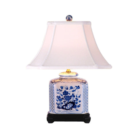 Blue and White Square Floral Porcelain Vase Table Lamp 19""