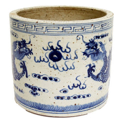 Blue and White Porcelain Dragon Motif Flower Pot 8""