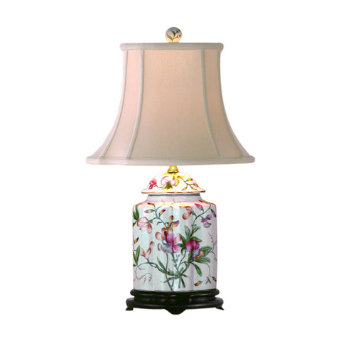Chinese Floral Motif Scalloped Porcelain Ginger Jar Table Lamp 22""