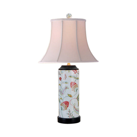 Fruit Floral Motif Cylindrical Porcelain Vase Table Lamp 24""