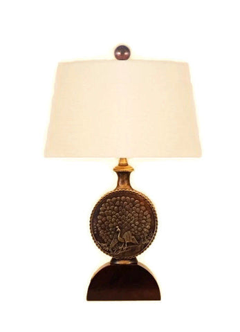 Oriental Brass Bronze Peacock Moon Vase Table Lamp Shade Finial 18""