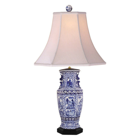 Blue and White Porcelain Hexagonal Landscape Vase Table Lamp 32""