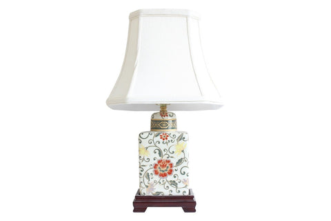 Beautiful Pale Yellow Floral Pattern Porcelain Tea Caddy Table Lamp 17.5""