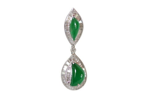 Imperial Jadeite Hoop Pendant 0.75 carat Diamonds 18K Gold