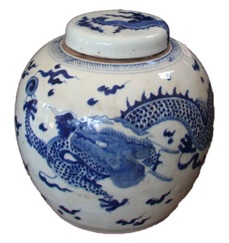 Vintage Style Blue and White Porcelain Lidded Ginger Jar Dragon Motif 9""