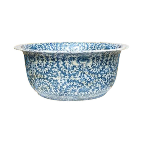 "Chinese Large Blue and White Curly Vine Porcelain Bowl 16"" Diameter"