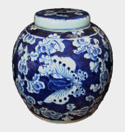 Vintage Style Blue and White Porcelain Lidded Ginger Jar Butterfly Motif 9""