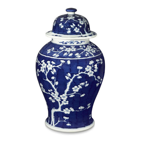 Decorative Blue and White Porcelain Plum Tree Cherry Tree Lidded Temple Jar 21""