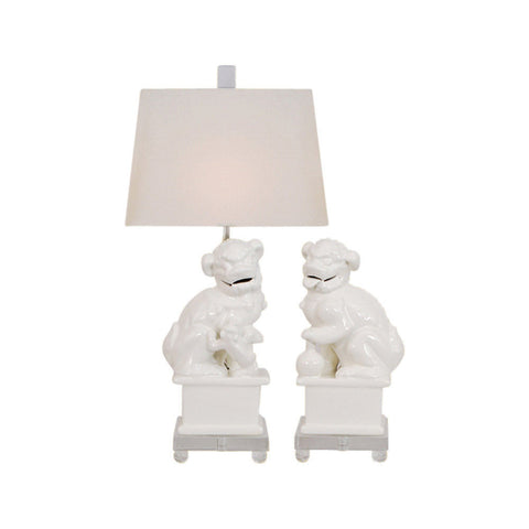 Beautiful White Foo Dog Pair Porcelain Table Lamp Clear Base 23""