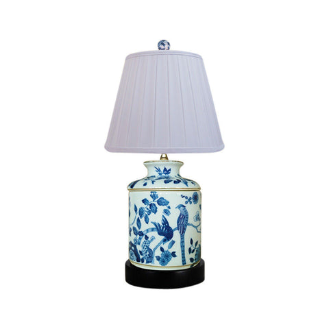 Blue and White Bird Motif Chinese Porcelain Jar Table Lamp 17""