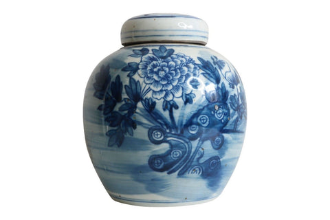 Beautiful Blue and White Floral Motif Porcelain Ginger Jar 6""