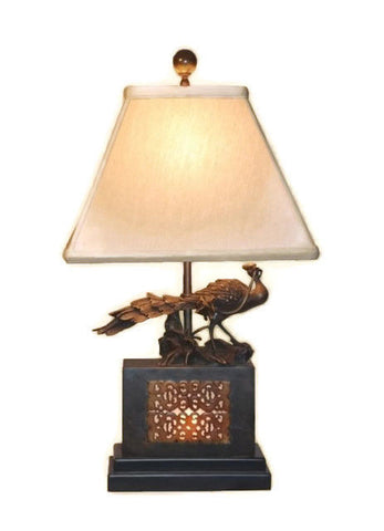 Oriental Brass Bronze Peacock with Jade Inlay Table Lamp Shade and Finial 22.5""
