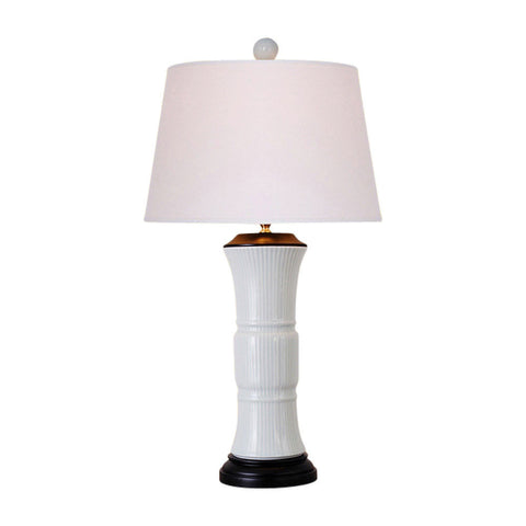 Beautiful White Ridged Porcelain Vase Table Lamp 29""