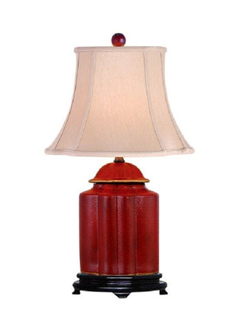 Chinese Red Lacquer Wooden Scallop Ginger Jar Table Lamp Shade and Finial 22""