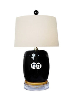 Black Porcelain Garden Stool Lamp w Acrylic Base Shade and Finial 17""
